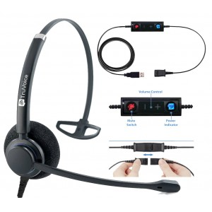 TruVoice HD-100 Monaural Noise Canceling Headset Including USB Adapter Cable