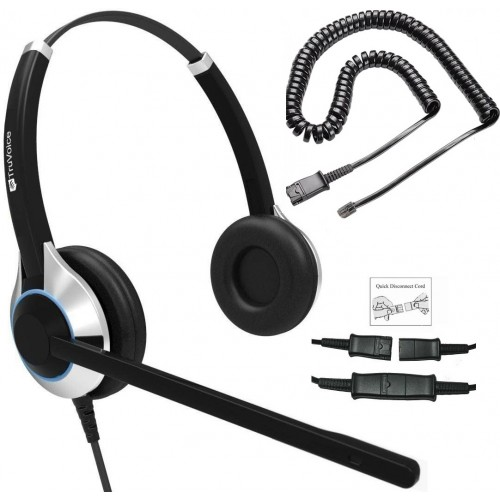 TruVoice HD-550 Binaural Noise Canceling Headset Including QD Cable for Yealink Phones