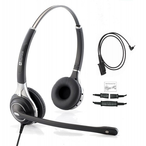 TruVoice HD-750 Binaural Noise Canceling Headset Including QD Cable for Cisco SPA Phones